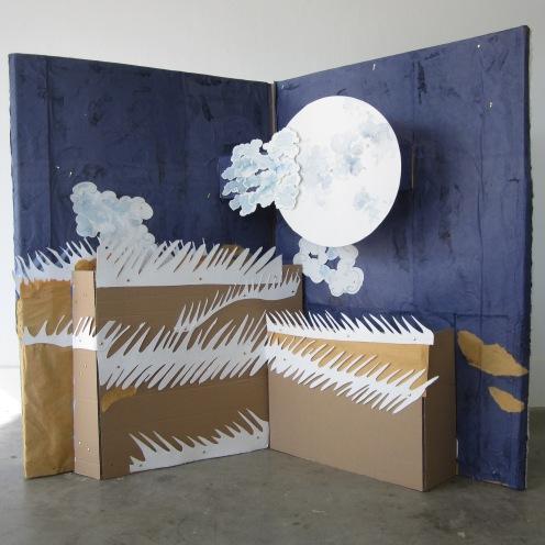 Photo. Automne. Collage ,aquarelle. Décor de l'opéra miniature: Urashima Taro. Taille réelle: 120 cm/160 cm
