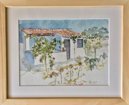 La maison du jardinier. Aquarelle sur carnet Khadi