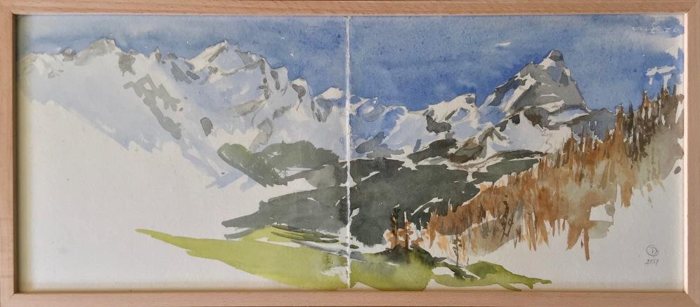 Breuil Cervinia, Panorama al Bich. Carnet de voyage. Aquarelle sur papier coton Khadi, 2017