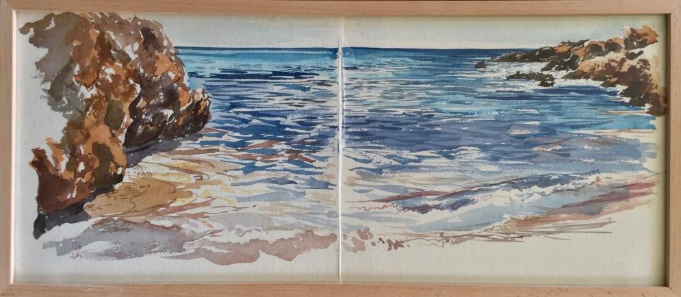 Crête, bord de mer. Carnet de voyage. Aquarelle sur papier coton Khadi. 2017