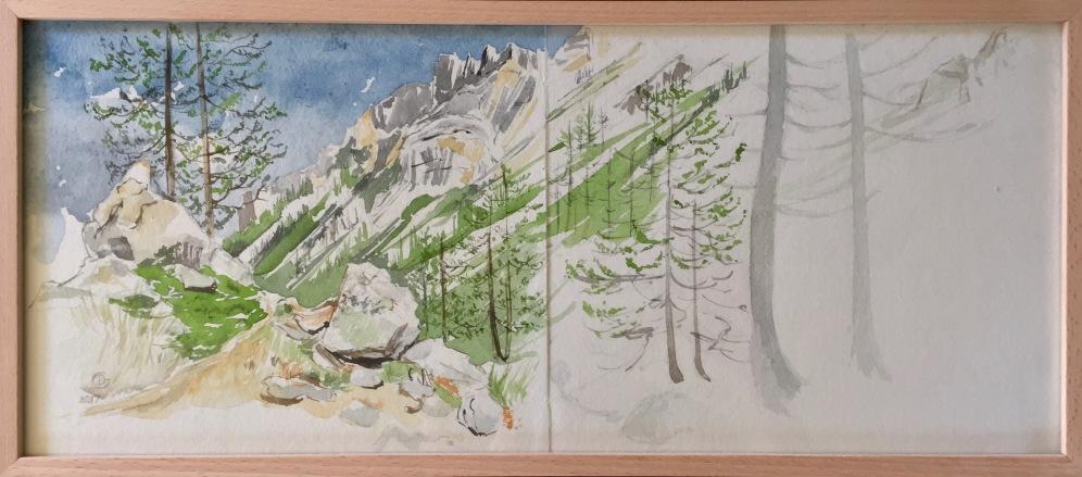 Mercantour, vallée des merveilles. Carnet de voyage. Aquarelle sur papier coton Khadi. 2017