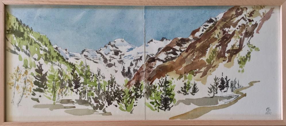 Cogne, Grand Paradis. Carnet de voyage. Aquarelle sur papier coton Khadi. 2017