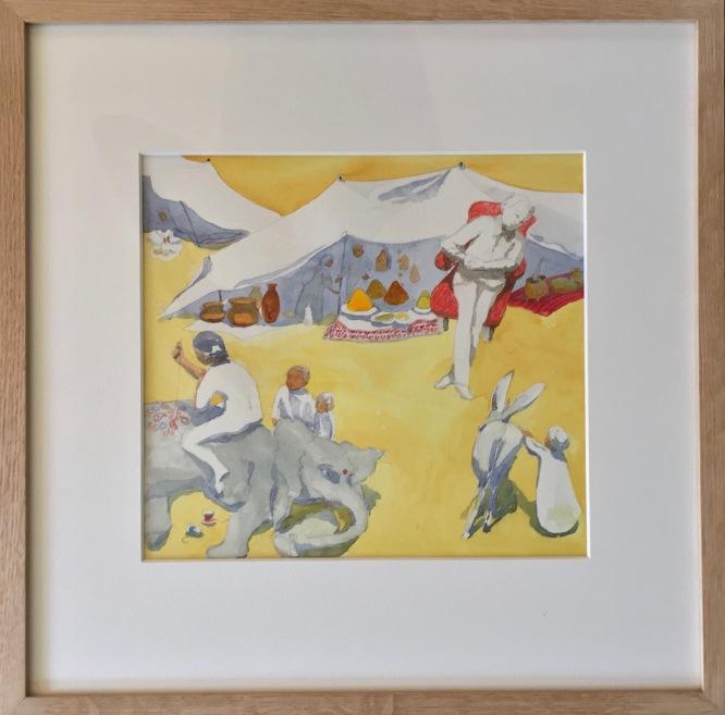 Le marché oriental. crayon et aquarelle sur papier Canson