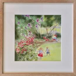 Un jardin heureux. Crayon, pastel et aquarelle sur papier Canson