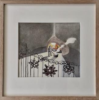 Un nain forgeron. Crayon, pastel et aquarelle sur papier Canson