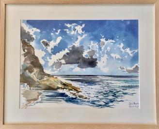 Sant'Angelo par grand vent. Aquarelle sur papier coton Sennelier. 2017