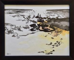 -Bordighera, bord de mer en fin d'après midi, l'hiver. Encre de Chine et aquarelle sur papier coton Khadi. 2018