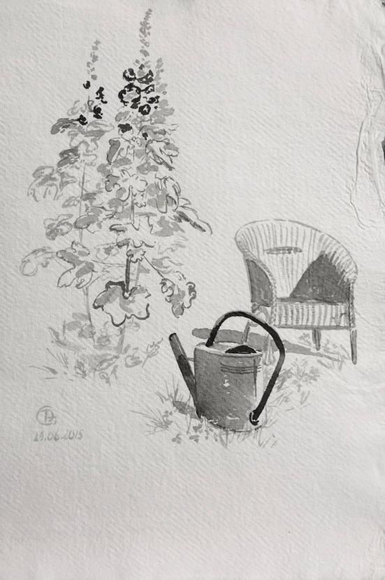 Jardin l'été, encre de Chine